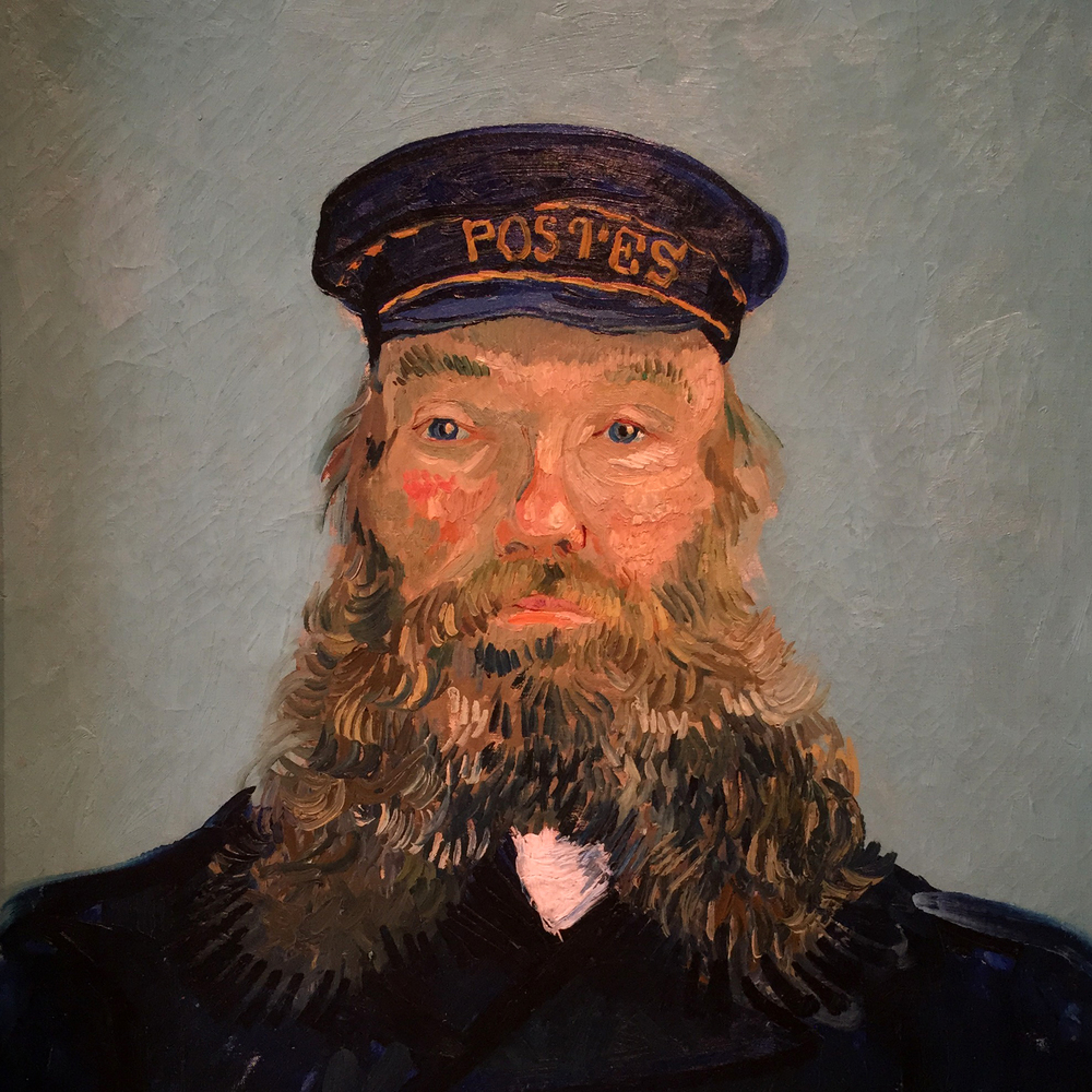 Get up close and personal with Van Gogh's portrait of Postman Roulin.
