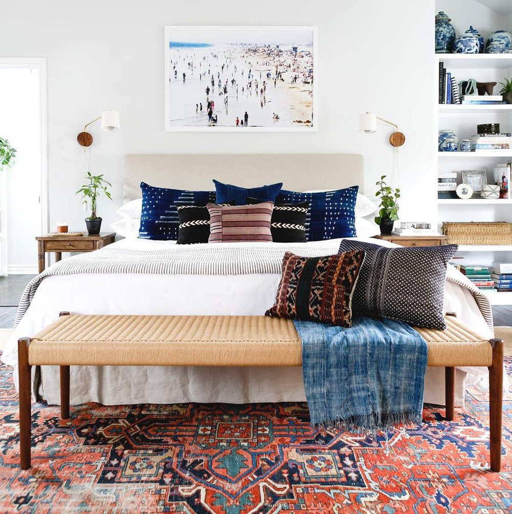 Bohemian bedroom by Katie Hodge Design.