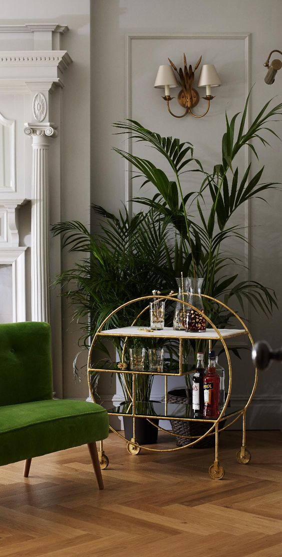Luxe Round Bamboo Drinks Trolley from Oliver Bonas