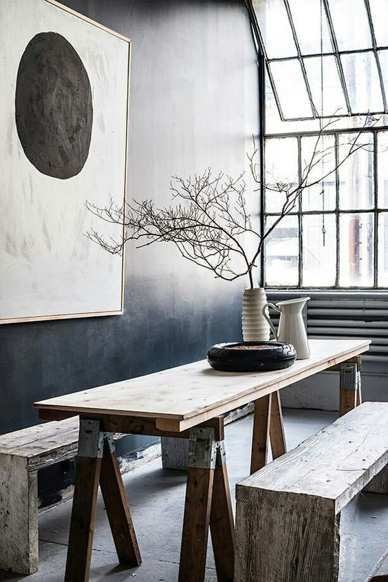 Wabi Sabi style with natural elements and earthy hues.