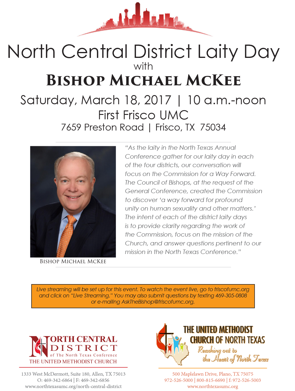 http://www.northtexasumc.org/2017/01/north-central-district-laity-day-with-bishop-mckee-march-18-2017/