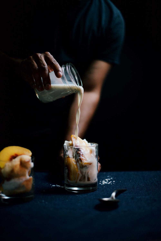 Image: Califia Farms -Peach and Vanilla Cake with Spiced Almondmilk recipe
