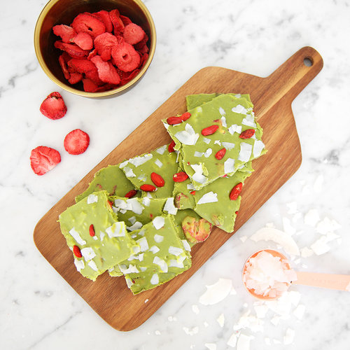 We're Dreaming of a White Chocolate Matcha Bark Christmas