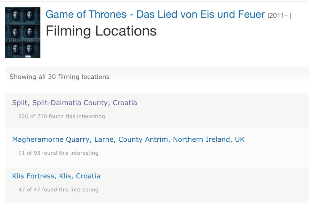 Beispielliste von Drehorten aus der IMDB