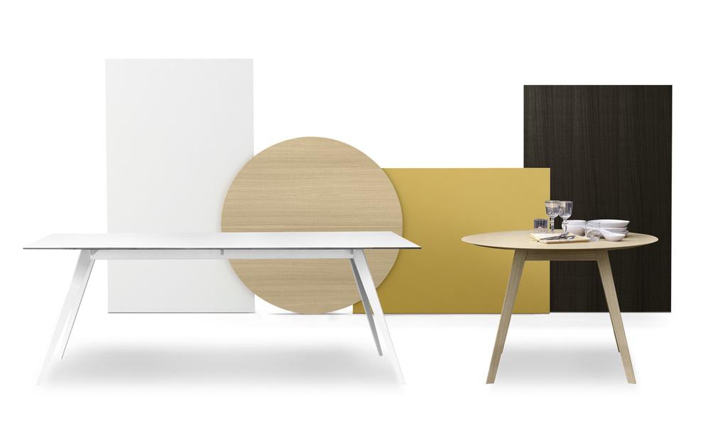 Bordet Aise kommer i forskjellige former, størrelser og utføringer. Bruk det som møtebord, spisebord eller arbeidsbord.