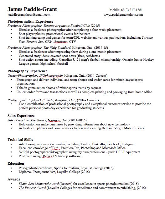 Resume — JPGphotography