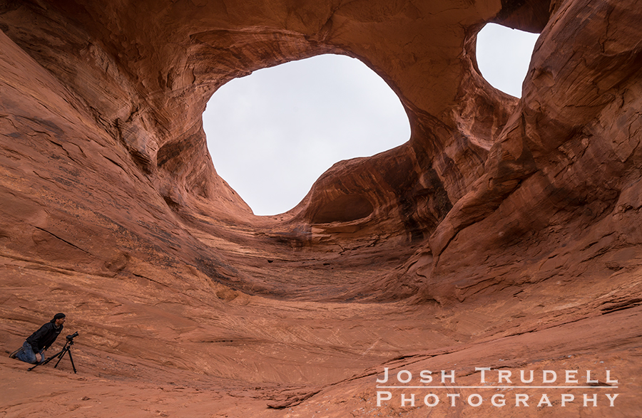 Chris and I climbed up to Spider Arch, but our photos were largely defeated by the flat gray sky. Bah.
