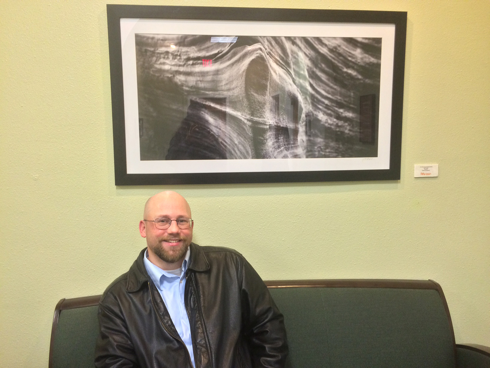 At San Antonio City Hall with one of my prints - part of a small series called Canyon Waves.  Photo by Julia Selwyn