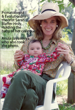 Photo of Sarah Blaffer Hrdy with baby