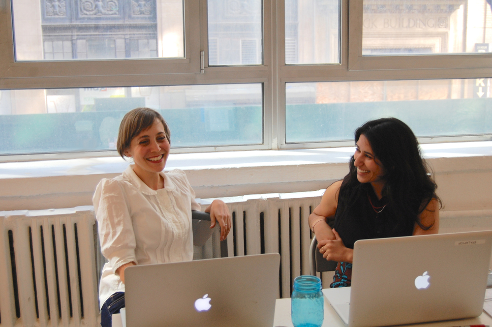 Michelle Levy (left), Director of the EFA Project Space and Meghana Karnik (right), Program Manager of the EFA Project Space.