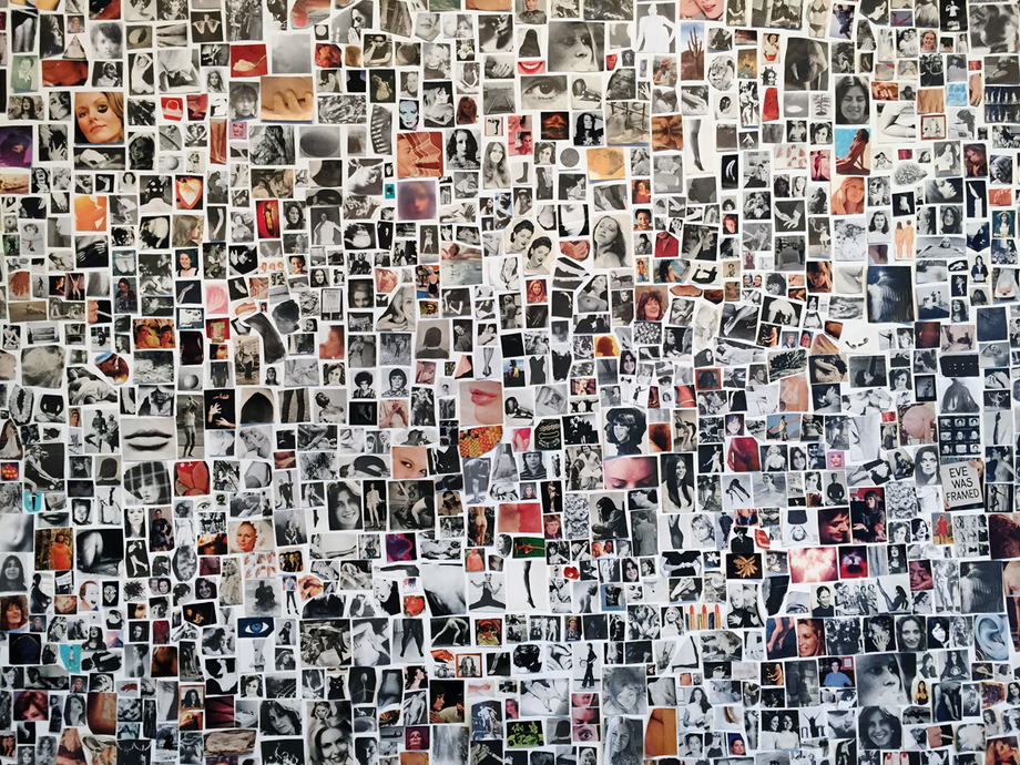 Carmen Winant, A World Without Men, wall collage (19' x 22') detail/ installation shot, Cleveland MOCA, 2015.
