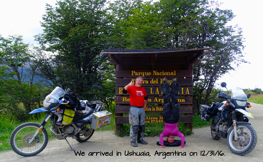 My husband and I rode our motorcycles to the southern tip of South America!