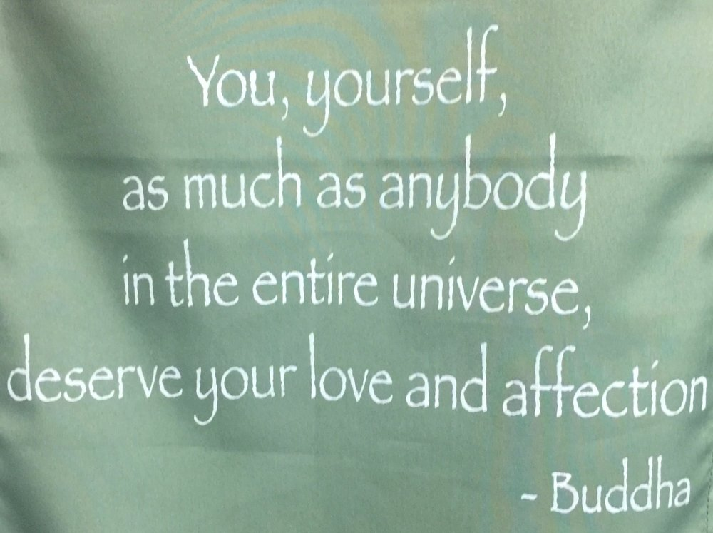 I saw this message hanging on the wall of my massage therapist's office. This photo reminds me that it's important to be kind to myself, to fill my cup so I have plenty to offer others.