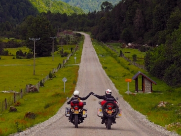 Keith and I riding near Futaleufú, Chile
