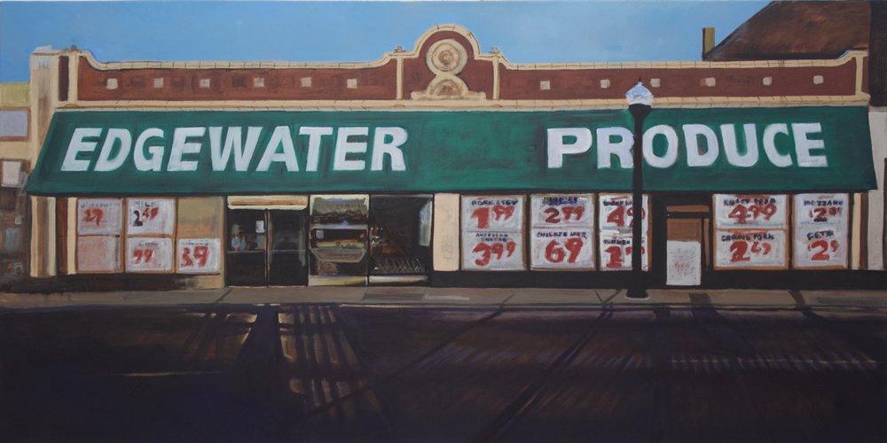 "Edgewater Produce  Oil on Canvas  36"" X 72"""