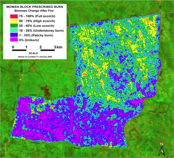 This DEC map of biomass change post-fire shows the high degree of variability within the prescribed burn unit. The width of the fire shown is roughly 7 kilometers. Image credit: Western Australia DEC