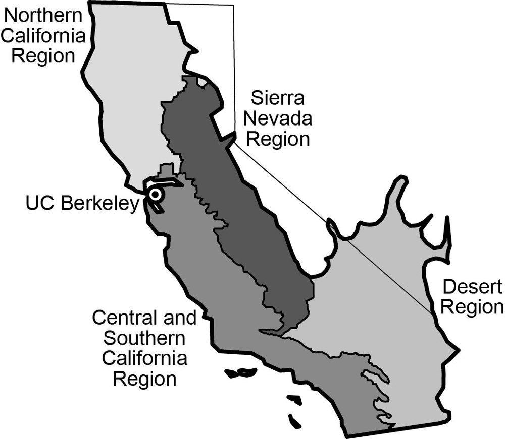THE cfsc is divided into 4 geographic regions and 1 statewide wildland-urban interface region