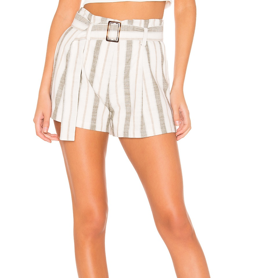 87865867f5 Striped High Waist Shorts with Belt - JOA — 5th and Hall