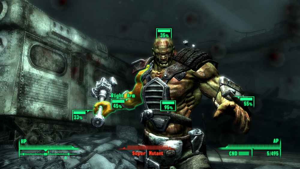 Fallout 3: A Super Mutant attacked in V.A.T.S. mode