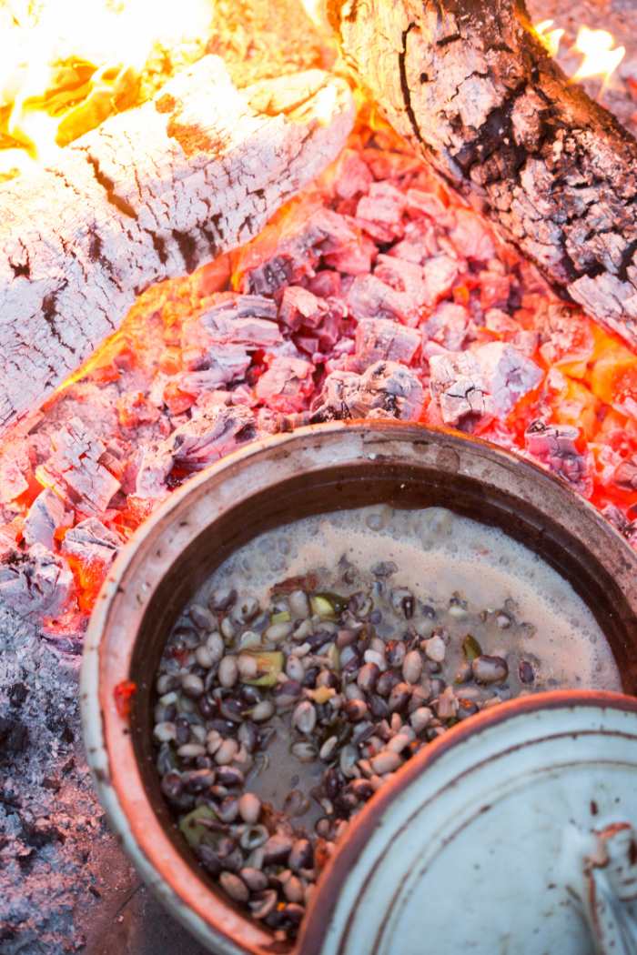 Stone soup in an open fire pit at the Rancho.
