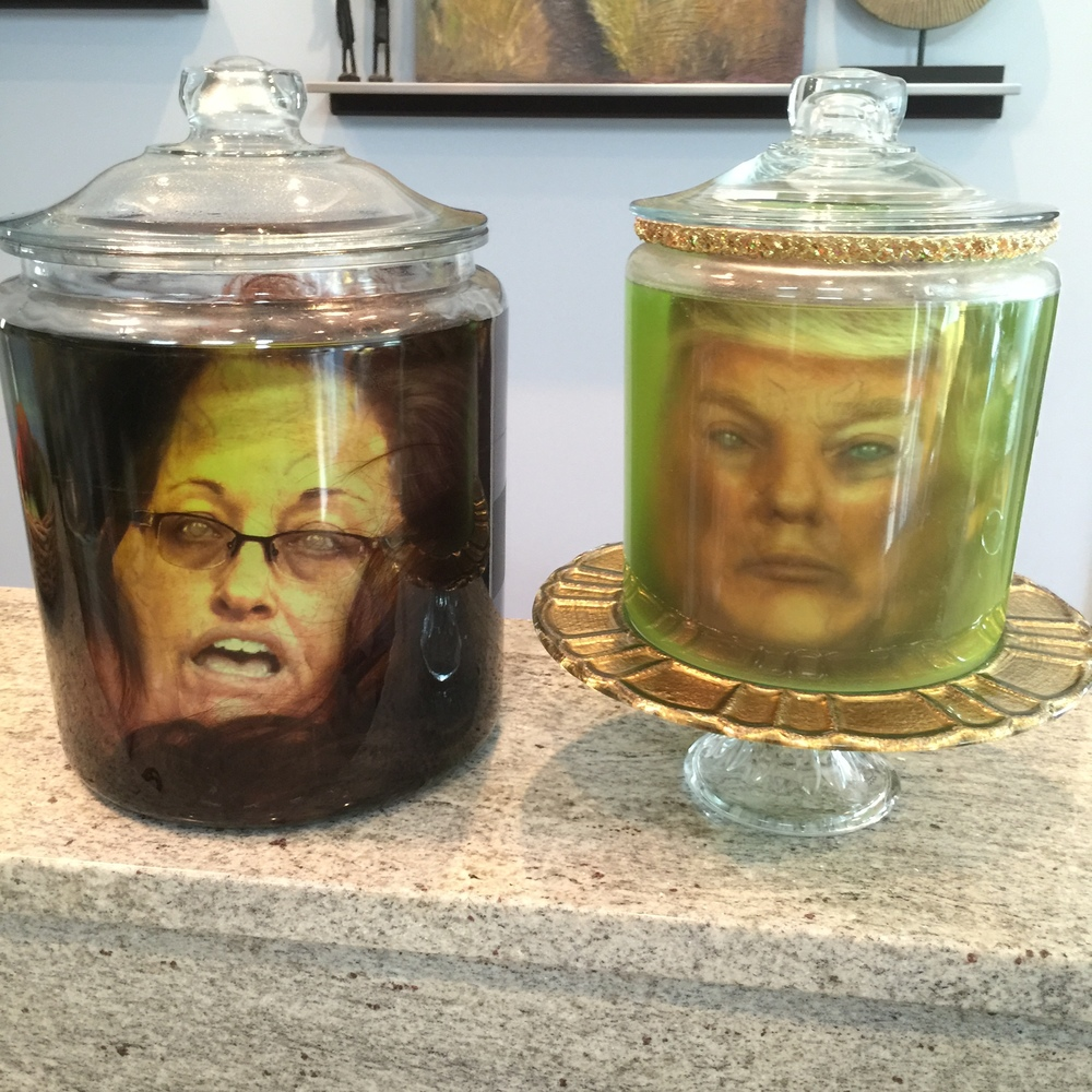 I added 1 tablespoon of fabric softener to Donald's jar to make it look cloudy. I also added a brown wig to the Kim Davis jar to make it more realistic.