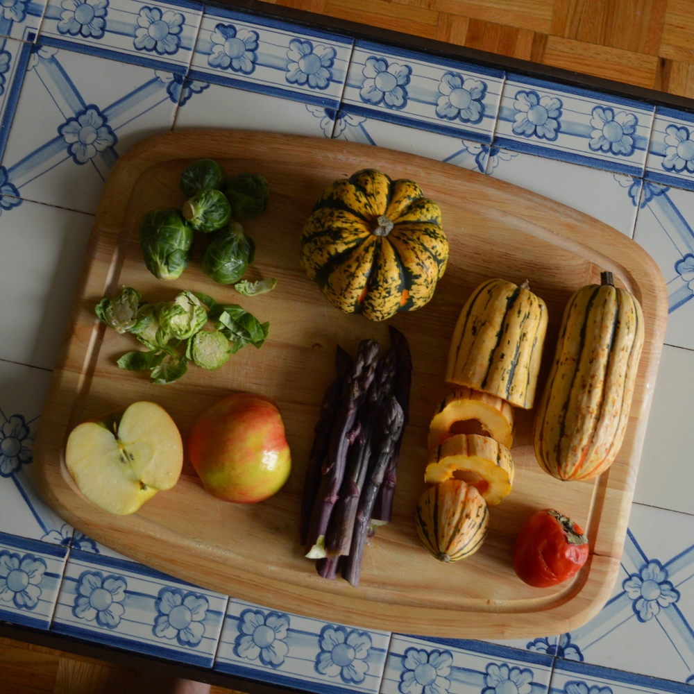 Brussels Sprouts, Honeycrisp Apple, Carnival Squash, Purple Asparagus, Delicata Squash, Persimmon