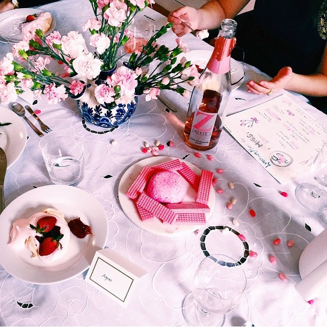 Pink champagne, pink candies, pink cookies, pink meringues, pink flowers. Photo credit: Mary Wang.