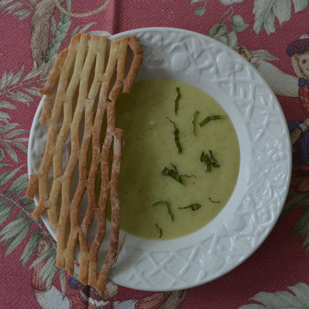 Course #1: Chilled Zucchini Soup with a woven pastry garnish