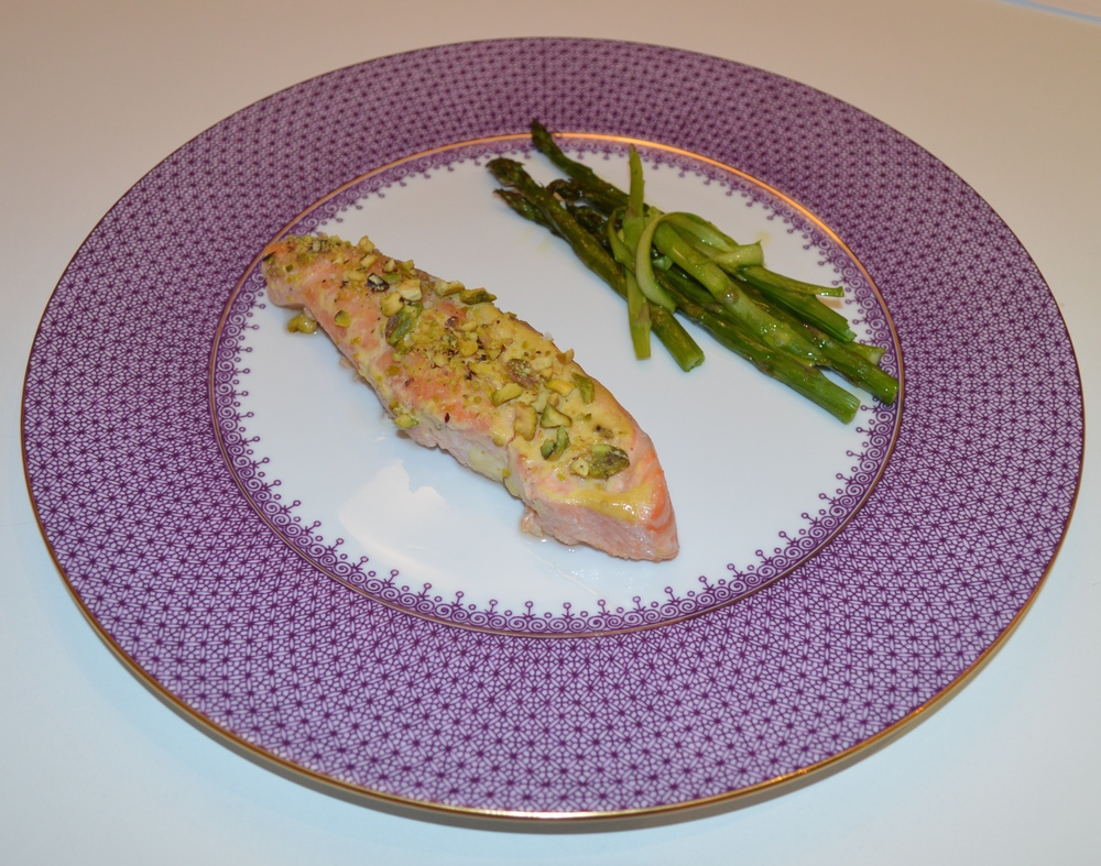 Course #2: Pistachio Crusted Salmon with tangled asparagus