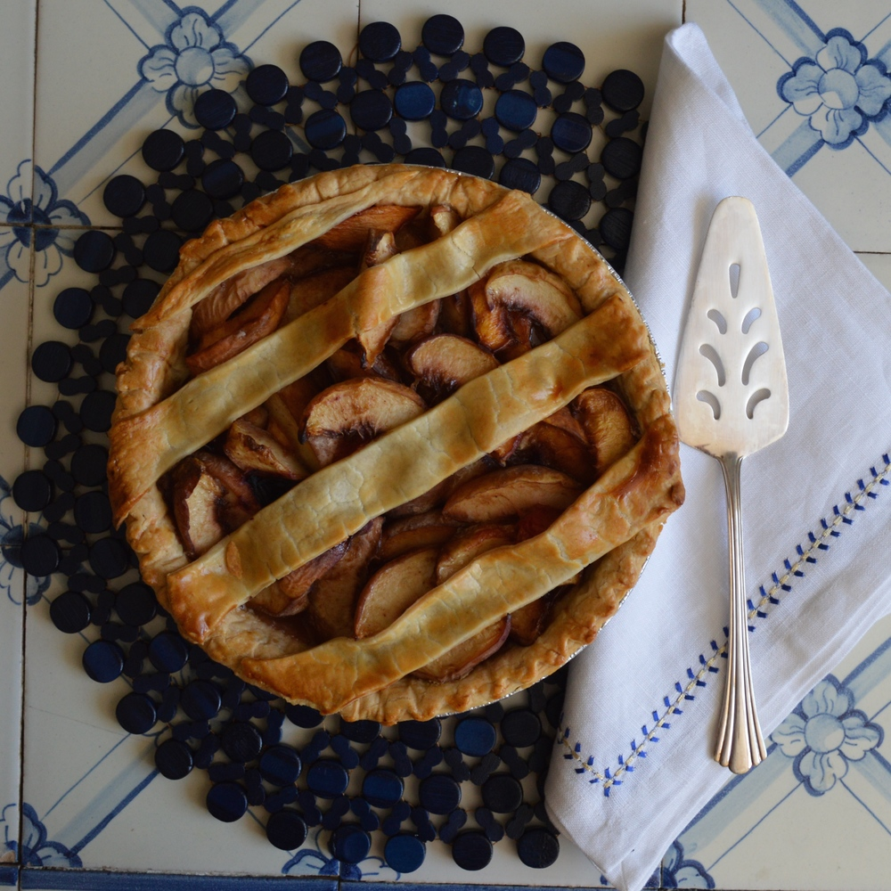 Dessert: Stone Fruit Pie with a loom crust