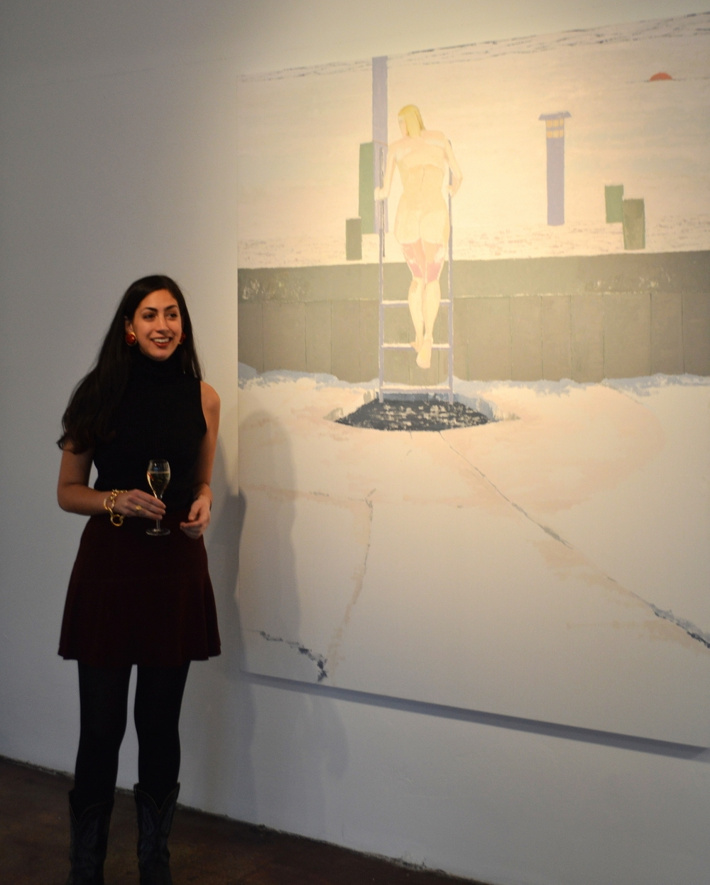 Stephanie in front of one of Michael Meehan's Ice Bather paintings
