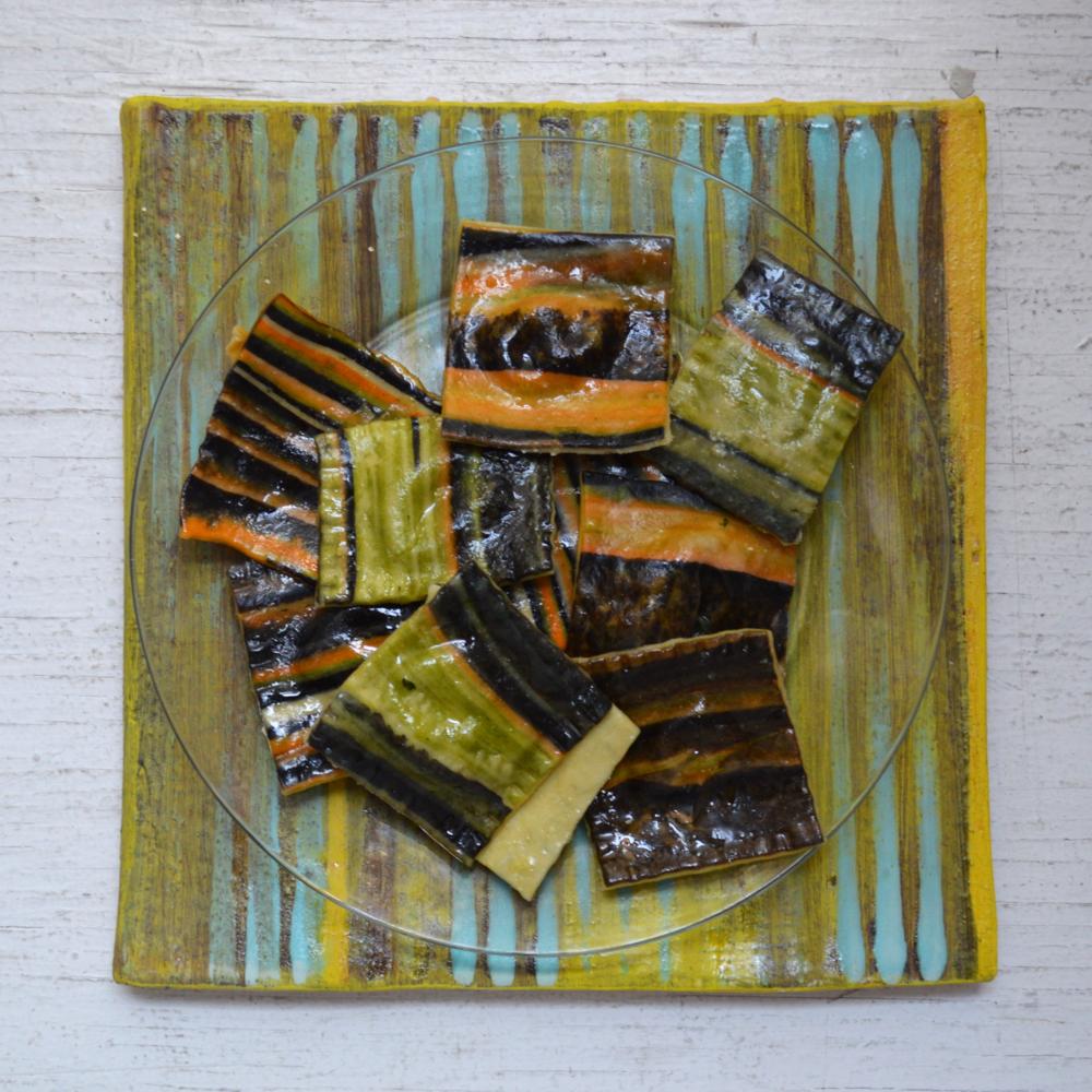 Pesto filled ravioli  atop one of Marthe's tiles