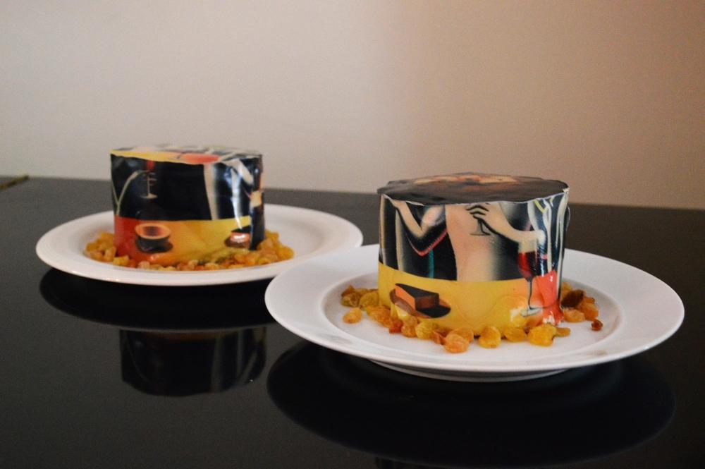 Chefanie's tiramisú cakes directly inspired by a Kostabi painting