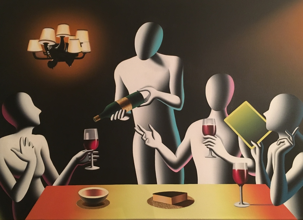 A Kostabi painting of a dining scene that inspired Chefanie's tiramisú cakes