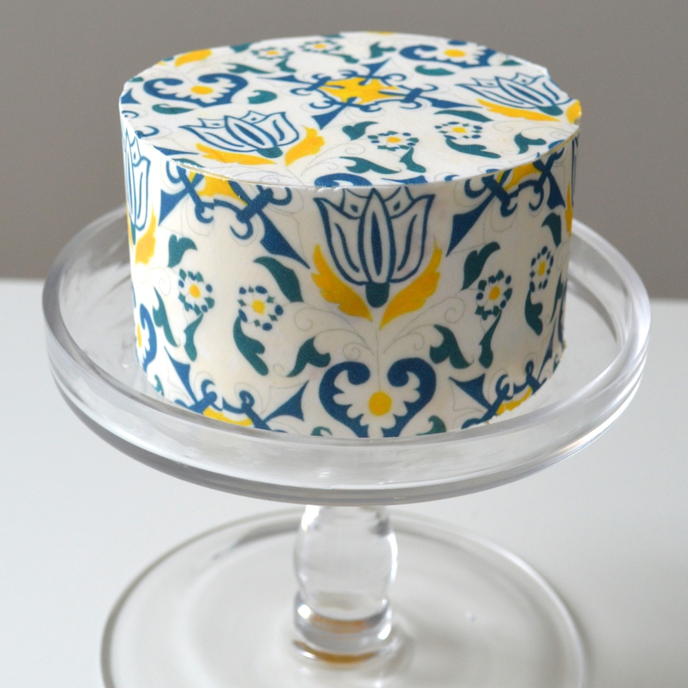 Cake with Amsterdam #ChefanieSheets, available for purchase at ChefanieNass.com