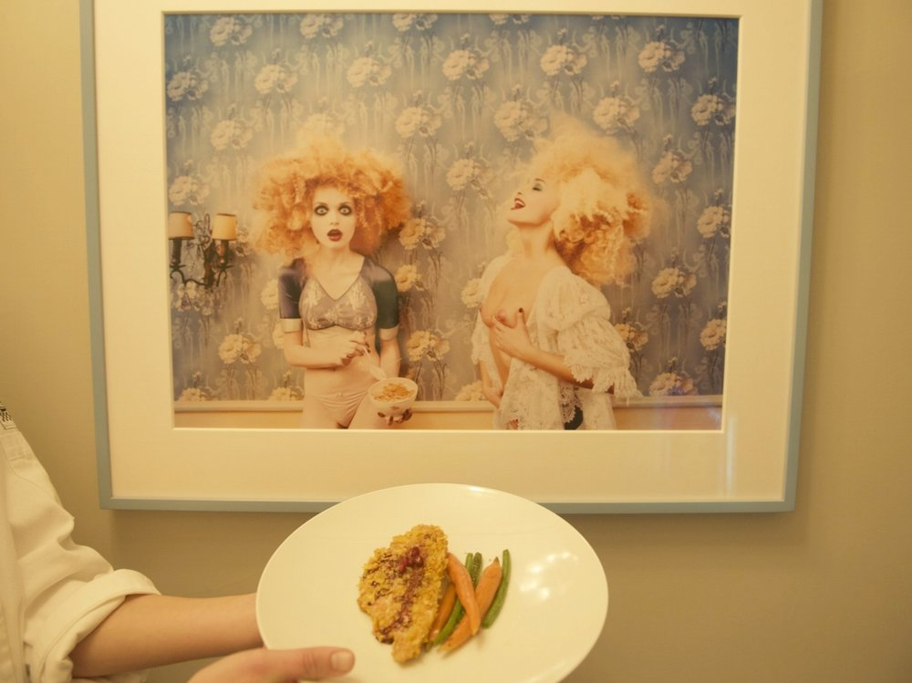 Cereal crusted chicken with vegetables inspired by David LaChapelle's Milkmaidens
