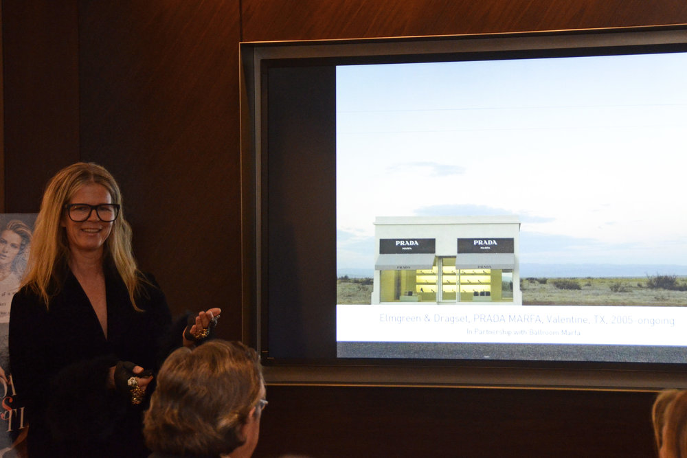Yvonne Force Villareal speaking about her work with images of her work including Prada Marfa. Photo credit Lukas Greyson