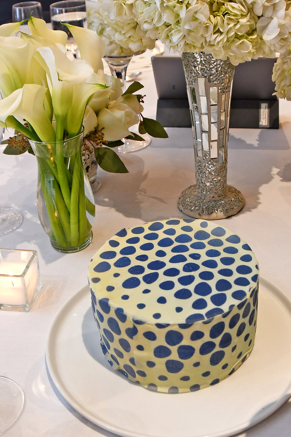 Cake with  Chefanie Sheet  inspired by one of David Rockwell's fabrics. Photo credit: Lukas Maverick Greyson