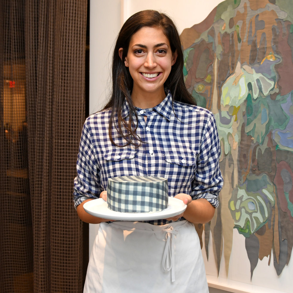 Chefanie with matching gingham cake. Photo credit: Lukas Maverick Greyson