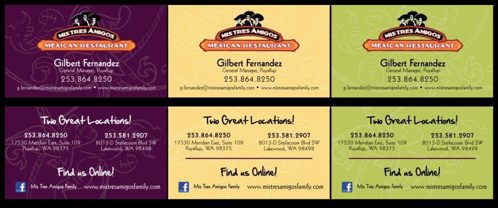 Mis Tres Amigos Business Cards