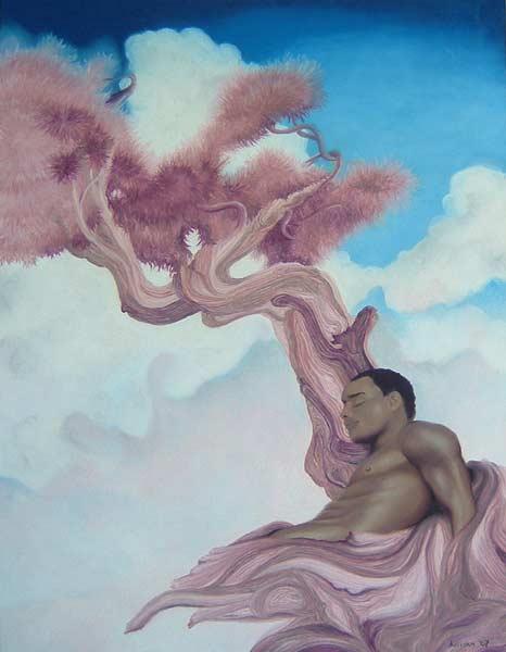 "Artwork: Dreamscape © Anima McKertcher 20"" x 25"" (50 cm x 62.5 cm) Oil Pastel on Canson Mi-Teintes paper Colours: Blue, White, Pink, Purple, Chocolate Brown"