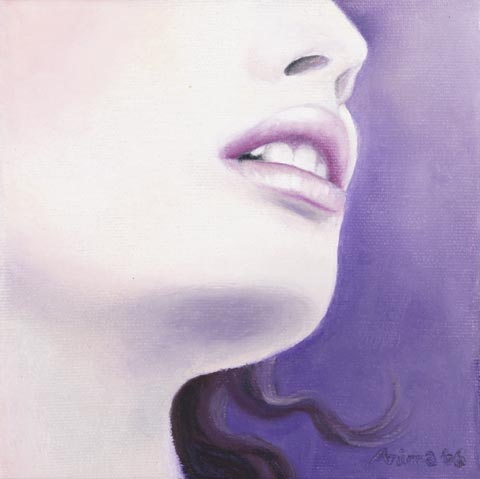 "Artwork: Lips of an Angel © Anima McKertcher 6"" x 6"" Oil Pastel on Canvas"