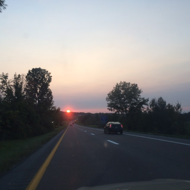 Sunset drive. Evening calm after long week & weekend shows. #avantfolk #livelooping #burlingtonvt