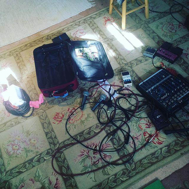 The mess of packing.... #gigtime @lightclublampshop tonight 9pm w/ @robflax #livelooping #fiddler #singersongwriter