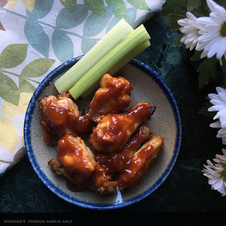 Sticky Peach Chicken Wings