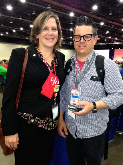 Sara Steffens was joined by her husband, Chronicle Guild member Mike Kepka, in Detroit, where Steffens won the post of CWA Secretary-Treasurer.