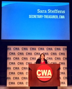 Steffens addressed the CWA Convention 75 as newly-elected Secretary-Treasurer.