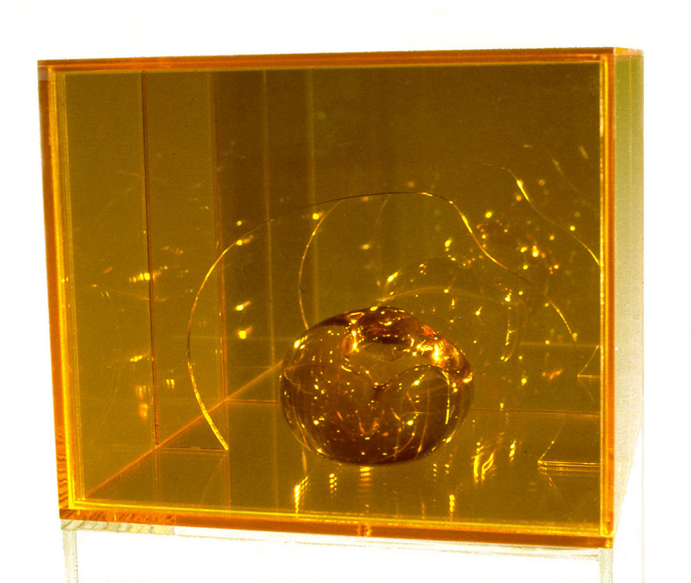 "Yeller Heller, 1967  Resin and Acrylic with Coated Glass  12""x12""x12"""
