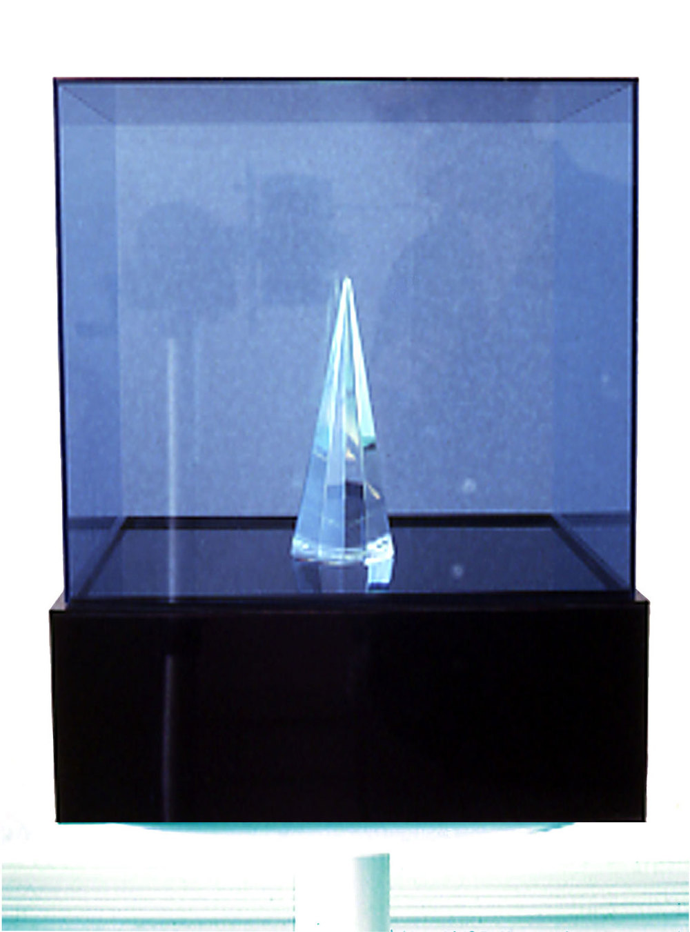 "Blue Geometry, 1968  Acrylic and Kinetic Light  14""x14""x20"""