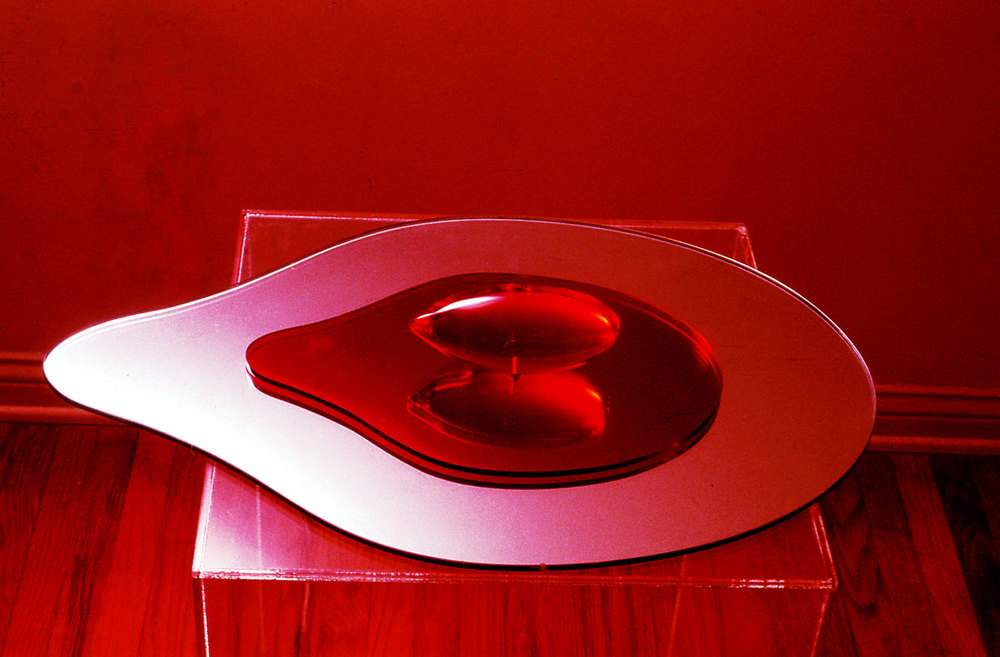 "Red Zeppelin, 1966  Resin and Acrylic Vacuum Formed with Glass Base  6""x7""x15"""
